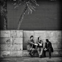 Mono HM Three Lawyers on a Bench by Marc McElhaney