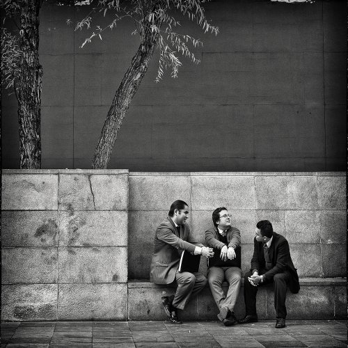 Three Lawyers on a Bench by Marc McElhaney