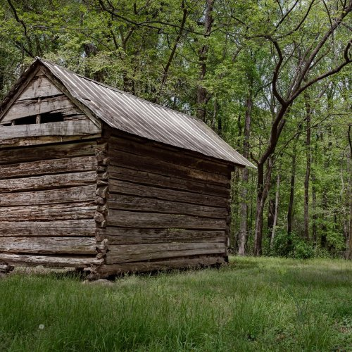 Hand-Hewn Building and Well by Elsie Allen