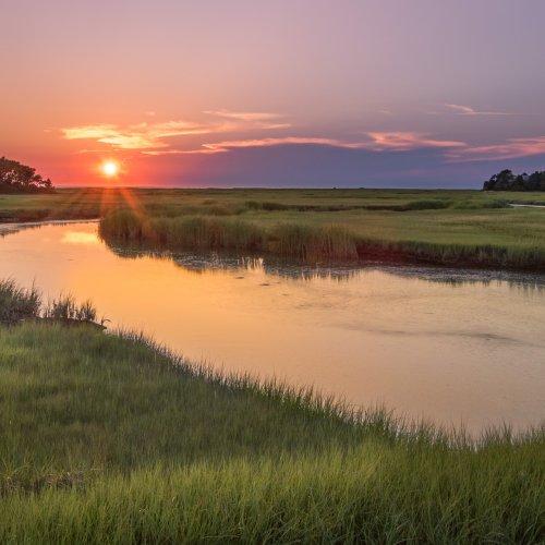 Sunset Over the Salt Marsh by Steve Director